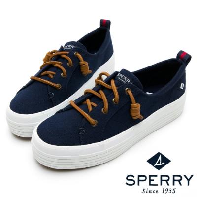 SPERRY 奢華經典厚底帆布休閒鞋(女)-深藍