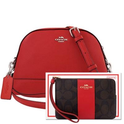 COACH 紅色荔枝紋皮革斜背包+紅色大C PVC手拿包