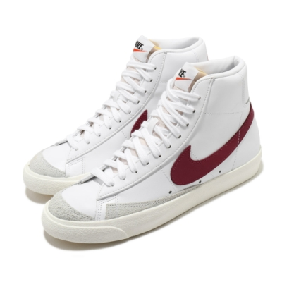 Nike 休閒鞋 Blazer MID 77 運動 女鞋 經典款 皮革 簡約 復古 球鞋 穿搭 白 紅 CZ1055102