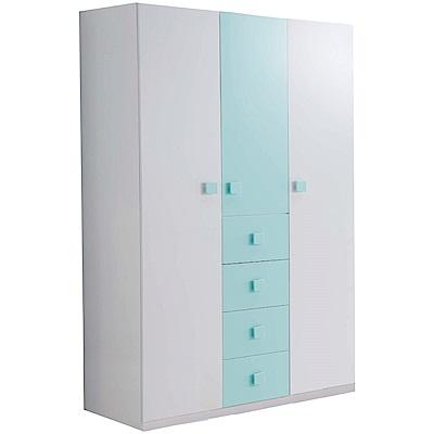 文創集 柯利森4尺雙色開門衣櫃/收納櫃(吊衣桿+四抽屜)-120x60x200cm免組