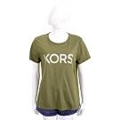 Michael Kors 鉚釘字母橄欖綠純棉短袖T恤