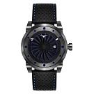 ZINVO 突破傳統渦輪機械皮革腕錶-黑X藍(BNTRO)/44mm