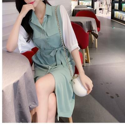 陽光少女清新雪紡拼接衣袖腰綁帶洋裝S-L(共二色)-Dorri