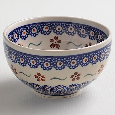 波蘭陶手工製 紅點藍花餐碗12cm