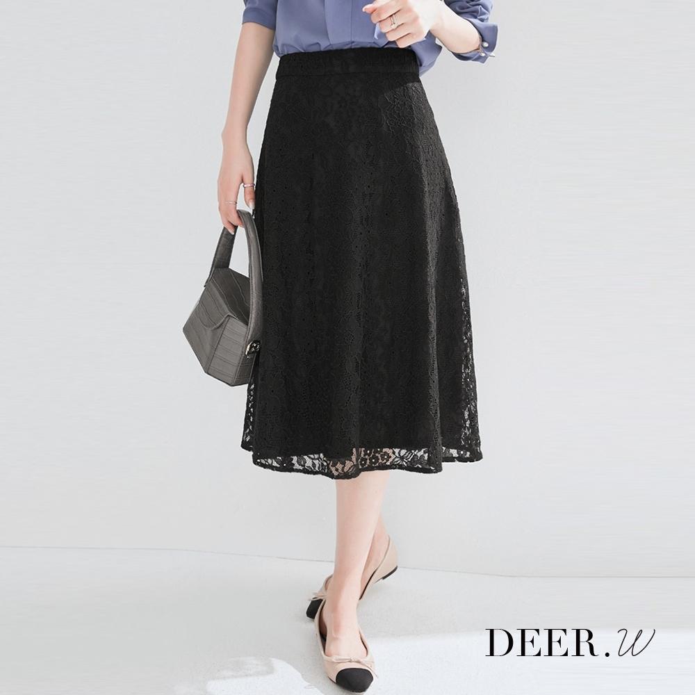 DEER.W 鏤空蕾絲A字中長裙(黑)
