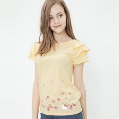 Hang Ten - 女裝 - Sanrio-荷葉蛋糕袖造型上衣 -黃