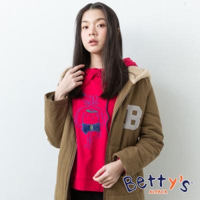 betty's貝蒂思 連帽抽繩公仔刺繡T-shirt(紅色)
