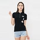 女裝Roots-貼布短袖POLO衫-黑