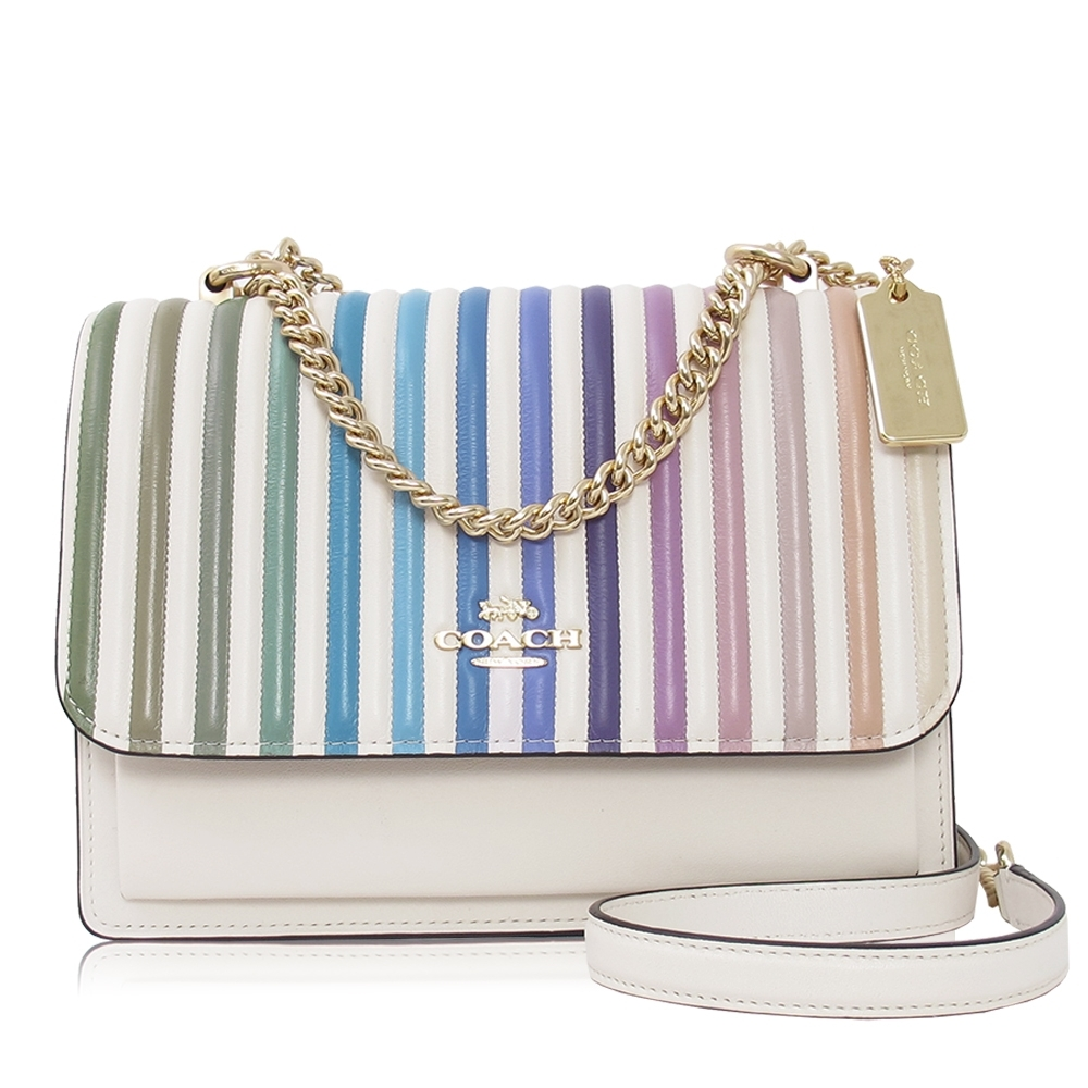 COACH 彩虹絎縫 光滑皮革 / KLARE 方型兩用包(小款/白色)