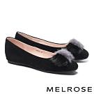 平底鞋 MELROSE 輕奢暖感雙色貂毛方頭平底鞋-黑