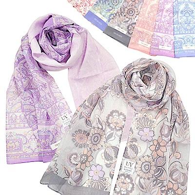 [時時樂限定]TRUSSARDI 繁華圖騰花卉純綿抗UV長型薄圍巾-6款