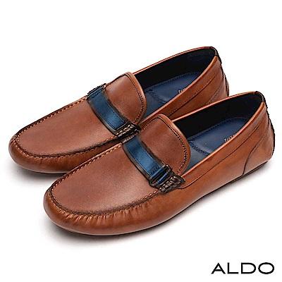ALDO 原色真皮鞋面抓皺金屬環釦帶樂福男鞋~紳士焦糖