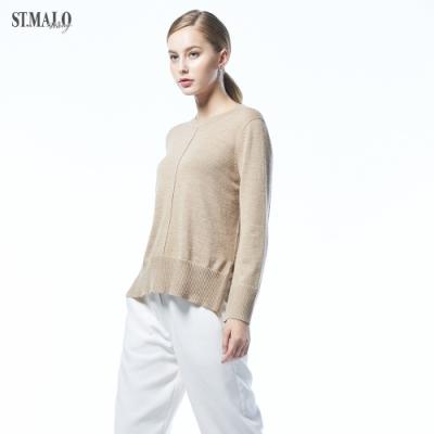【ST.MALO】精湛工藝純色雙織幼羊駝針織毛衣(2色)