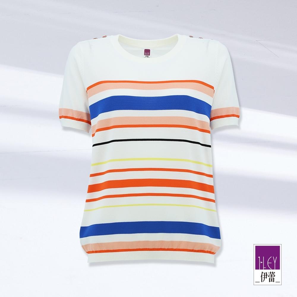 ILEY伊蕾 撞色都會條紋針織上衣(白)1211075008