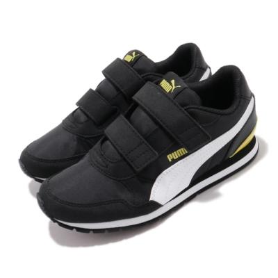 Puma 慢跑鞋 ST Runner V2 運動 童鞋 輕便 魔鬼氈 舒適 穿搭 中童 黑 黃 36529417