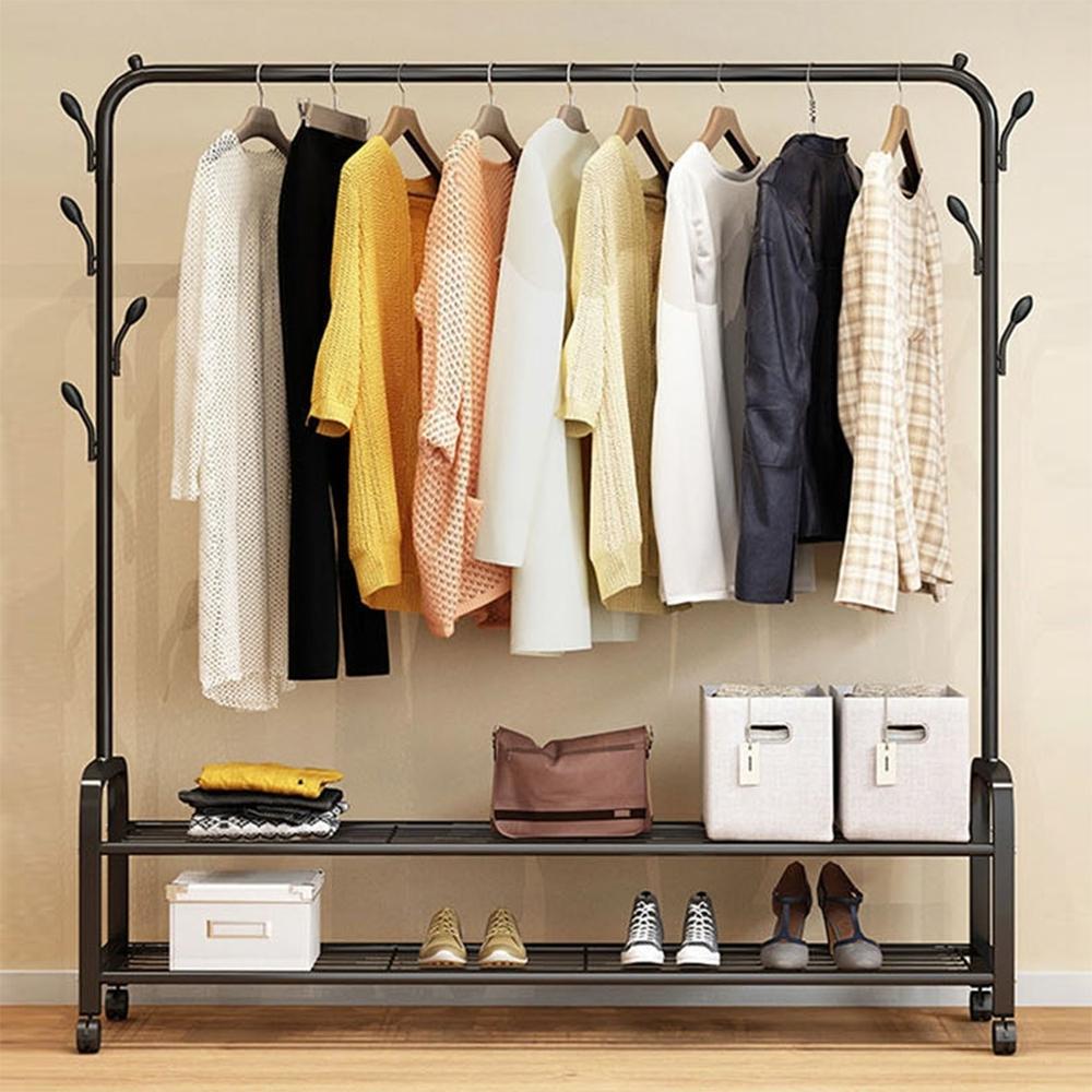 【日居良品】工業風簡易臥室帶樹枝型附雙層置物衣架/衣帽架/室內掛衣架(附輪好移動)