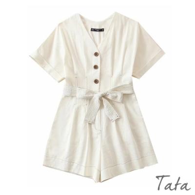 V領排扣綁帶連身褲 TATA-(S~L)