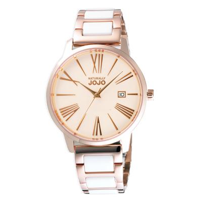 NATURALLY JOJO浪漫不鏽鋼鑲嵌陶瓷潮流腕錶-白X玫瑰金