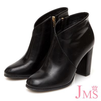 JMS-時尚首選素面側拉鍊粗高跟短踝靴-黑色
