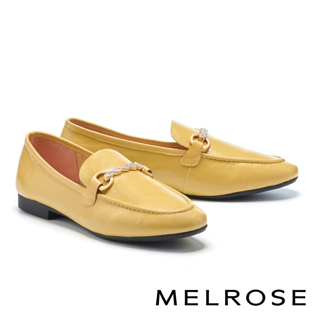 低跟鞋 MELROSE 知性質感金屬鑽鍊全真皮樂福低跟鞋-黃