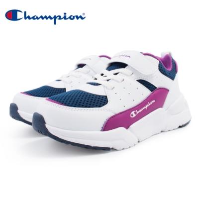 【Champion】RIPPLE 運動童鞋 透氣網布 大童鞋-白/紫(KSUS-0362-09)