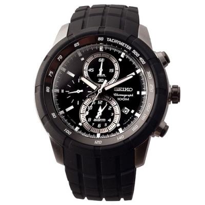 SEIKO 自我極限鬧鈴賽車錶-黑(SNAD85P1)45mm
