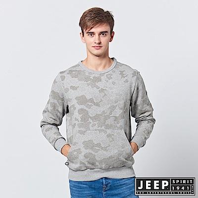 JEEP 普普迷彩刷毛口袋長袖TEE-灰