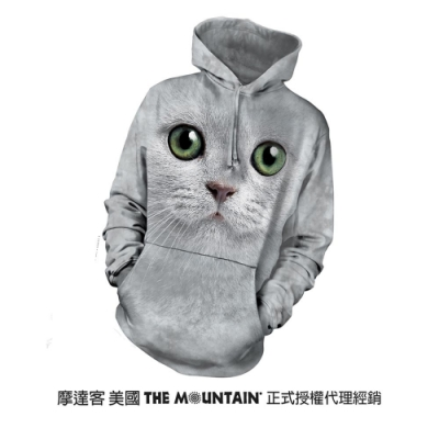 摩達客 美國進口The Mountain 綠眼貓臉 長袖連帽T恤