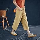純棉寬管褲垂感高腰七分褲-設計所在
