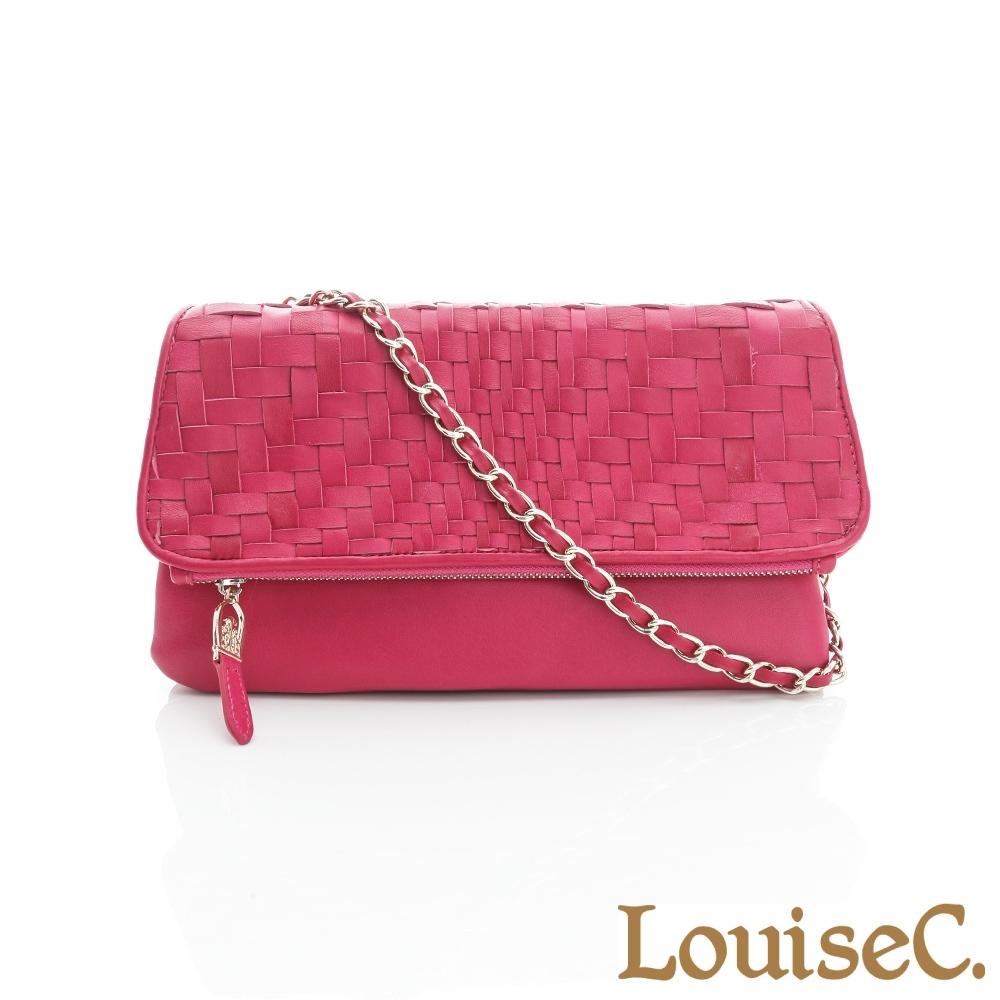 LouiseC.羊皮手工編織手拿鍊帶包-桃紅色 06L05-0017A14