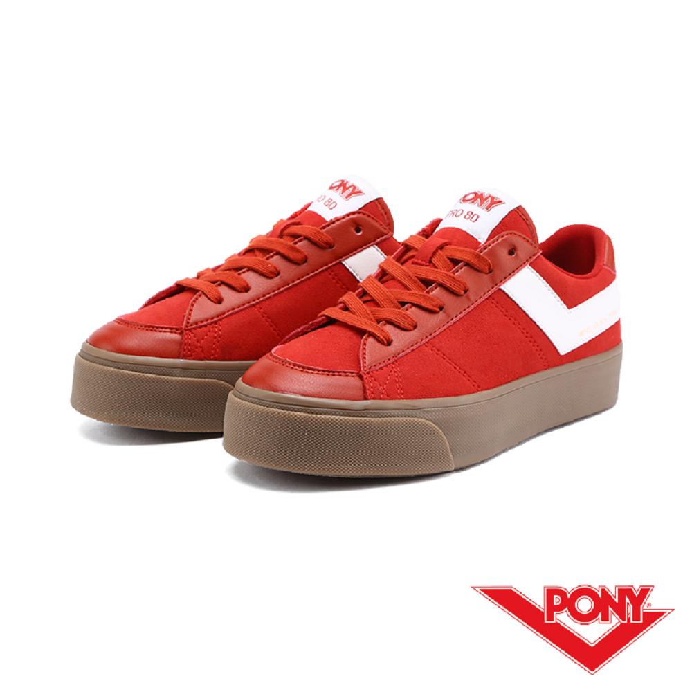 【PONY】PRO 80系列-經典復古休閒鞋-女-暗紅