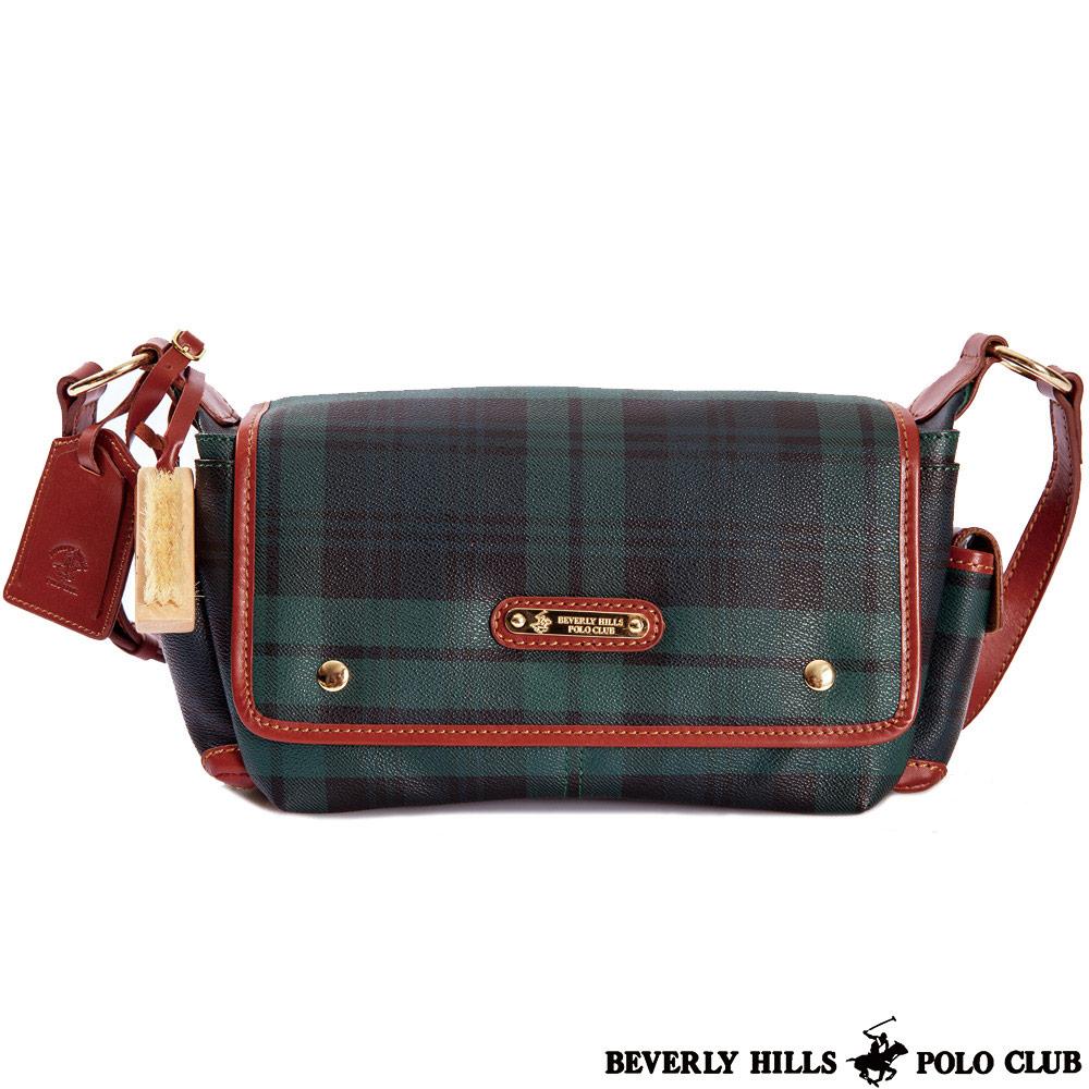 B.H POLO-經典綠格紋 甜美指標 雙袋斜揹包包