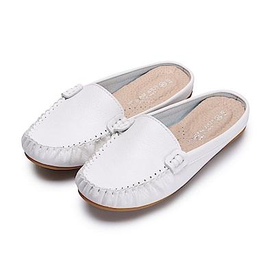 BuyGlasses 輕著素面豆豆穆勒鞋-白