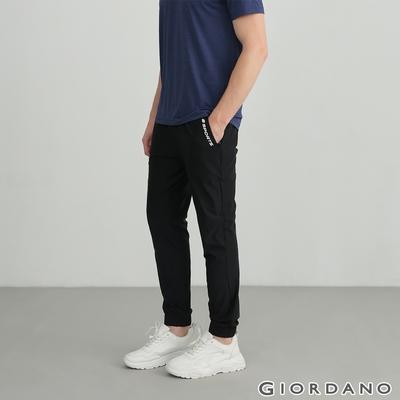 GIORDANO  男裝輕薄涼感內抽繩束口褲 - 09 標誌黑