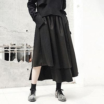 不規則下襬冬季加厚絨料中長裙/設計所在/Q-506