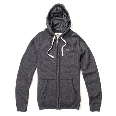 Hollister HCO 小海鷗刺繡素色連帽外套(男款深灰-M)