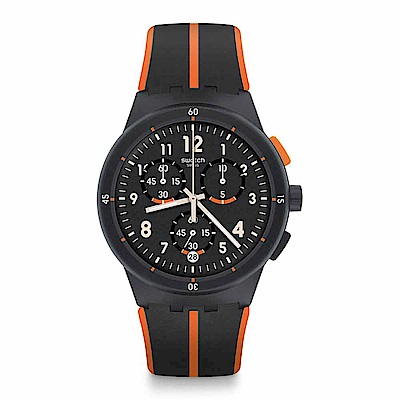Swatch 原創系列 LASERAY 橘黑動感手錶