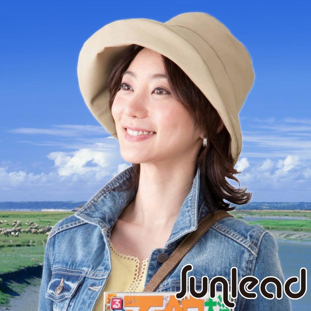 Sunlead 防潑水。超輕量防曬抗UV晴雨兩用遮陽帽 (駝色)