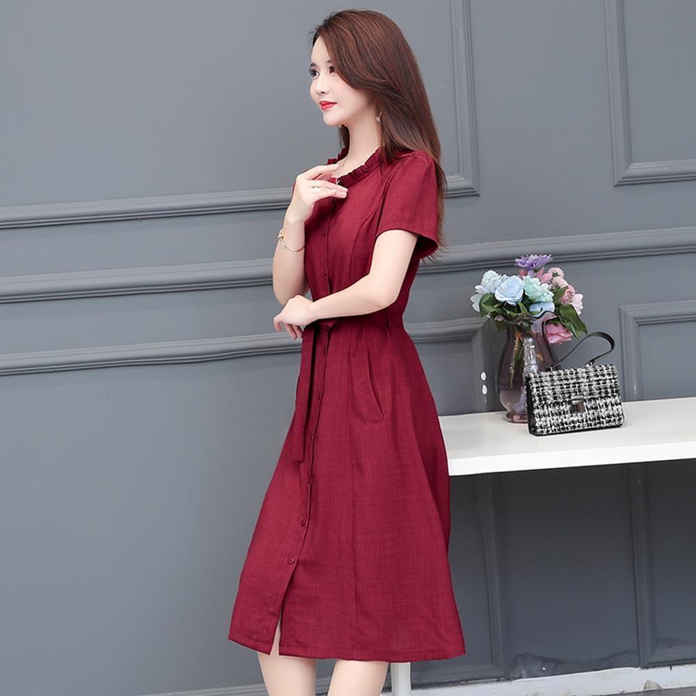 韓版氣質仿牛仔A字裙洋裝M-4XL(共兩色)-REKO