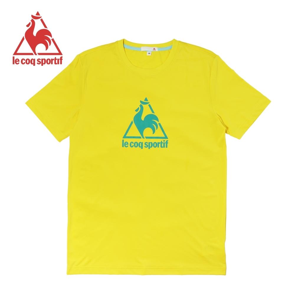 le coq sportif 法國公雞牌螢光印花吸排運動短袖T恤 男-黃