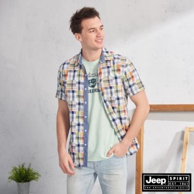 JEEP 多彩撞色格紋短袖襯衫