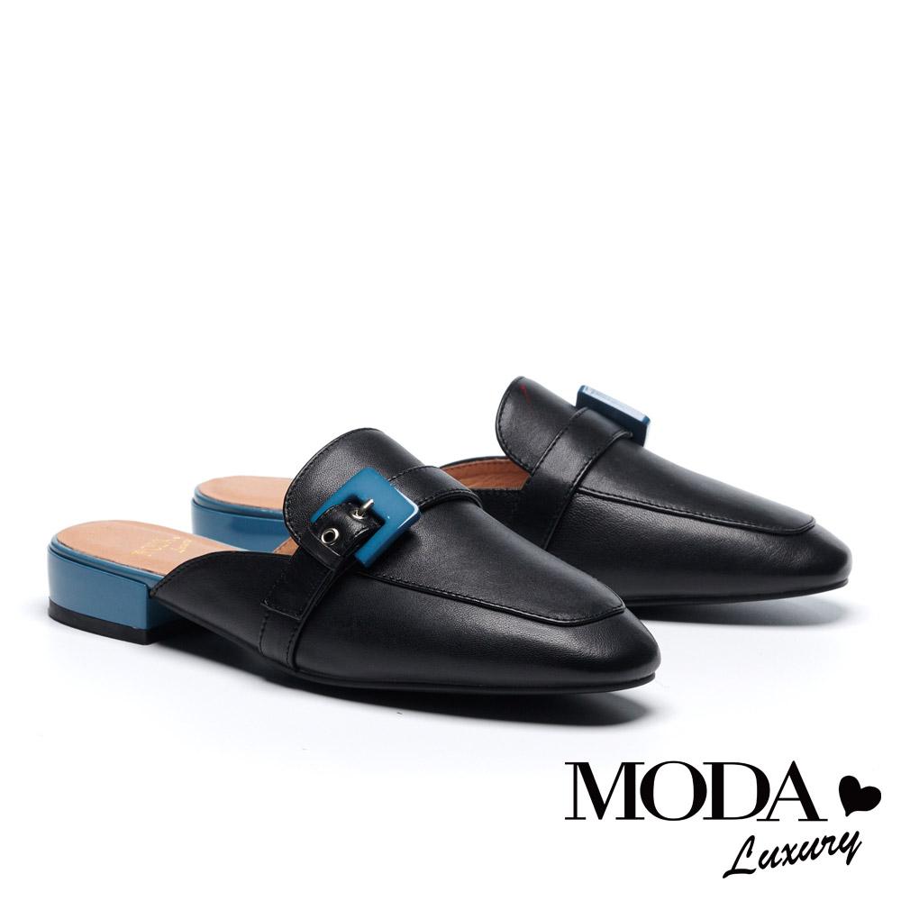 拖鞋 MODA Luxury 復古潮流跳色飾釦繫帶羊皮穆勒低跟拖鞋-黑