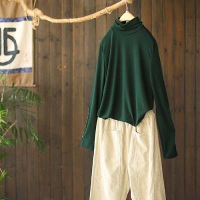 純棉高領針織T恤堆堆領薄上衣六色可選-設計所在