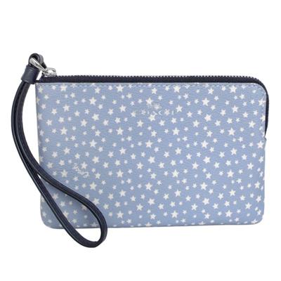COACH水藍滿天星圖印PVC萬用手拿包