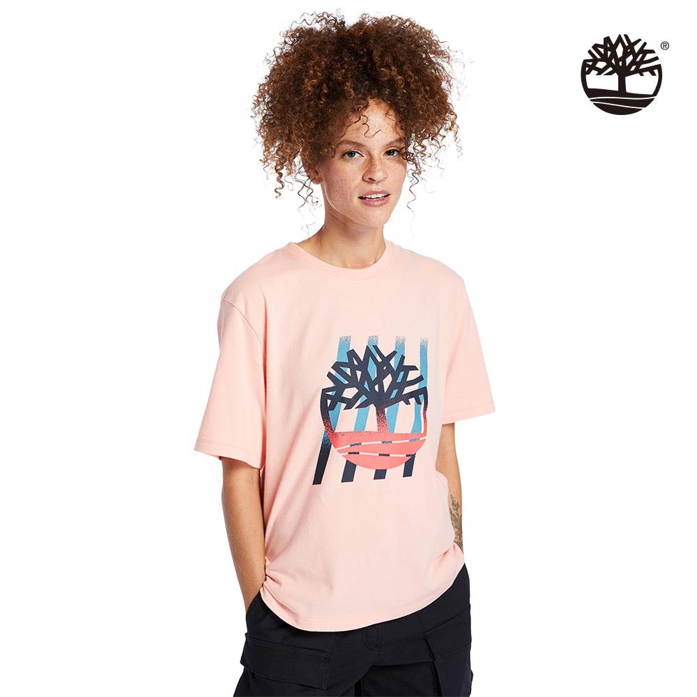Timberland 女款蜜桃粉漸層樹型LOGO寬鬆T恤 A2FYC