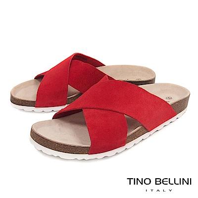 Tino Bellini 西班牙進口簡約真皮交叉平底涼拖鞋 _ 紅