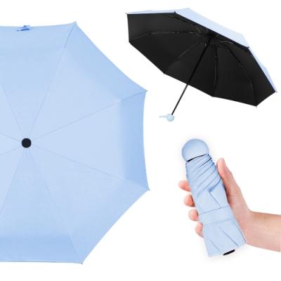 幸福揚邑 抗UV降溫8骨防風防潑水大傘面五折迷你晴雨口袋傘(淺藍)