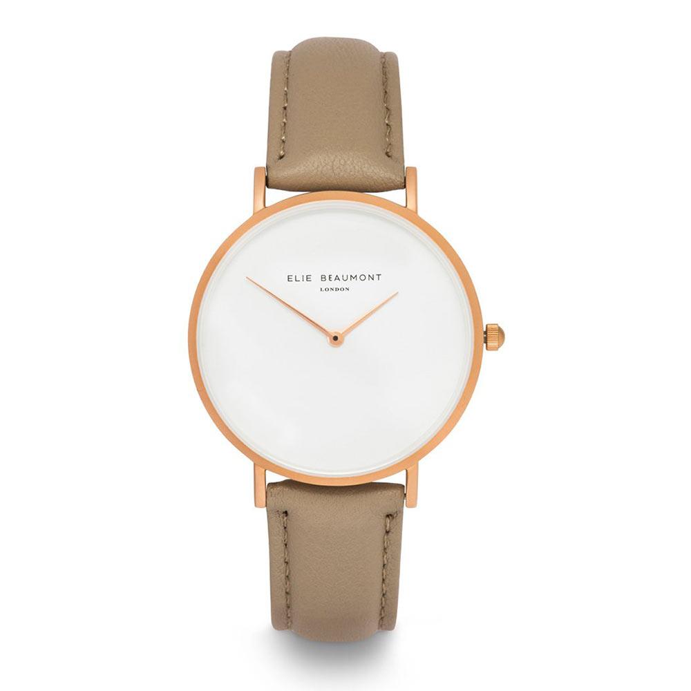Elie Beaumont 英國時尚手錶 HOXTON白x卡布奇諾棕錶帶x玫瑰金框38mm