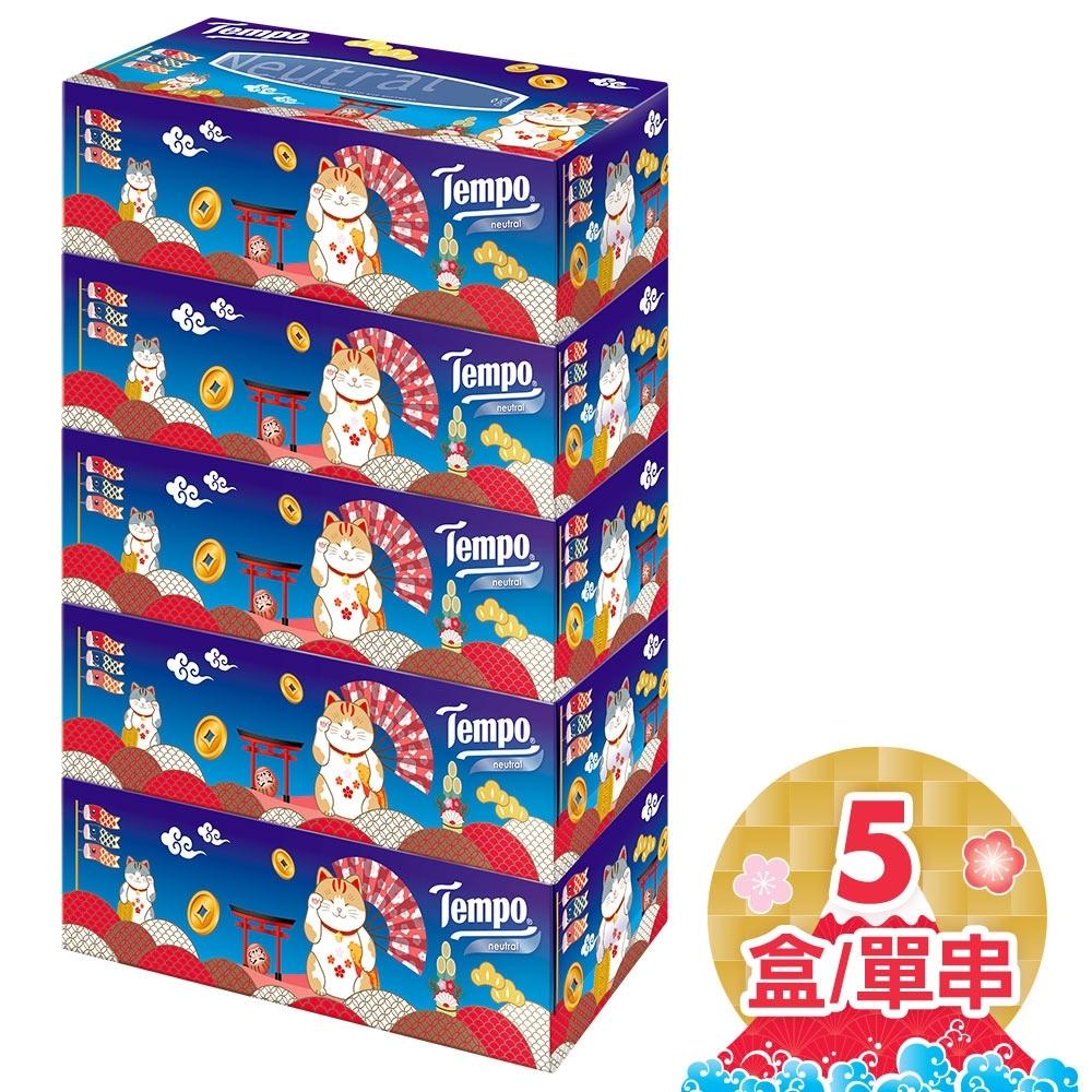 Tempo三層盒裝面紙 天然無香 賀年招財限量版 86抽x5盒/串