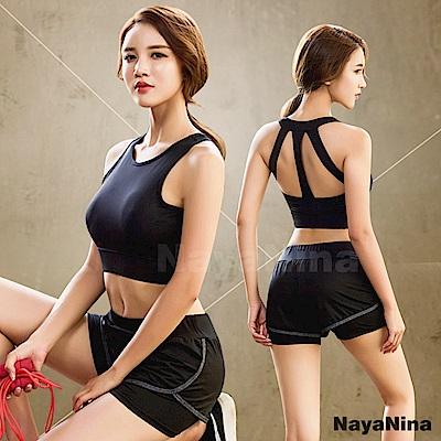 運動內衣 無鋼圈 極簡有型美背無鋼圈運動內衣M~XL(黑) Naya Nina